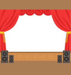 Theater stage with opened red curtain colorful vector