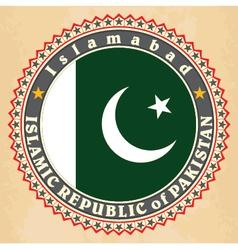 Vintage label cards of pakistan flag vector