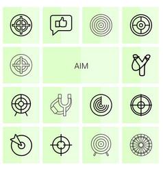 14 aim icons vector