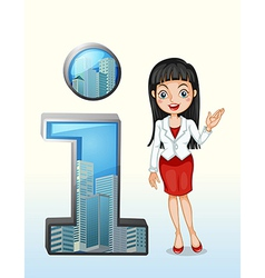 A number one symbol beside pretty businesswoman vector