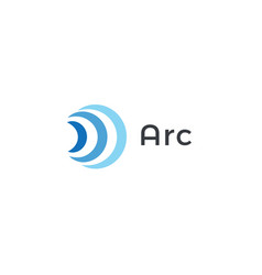 abstract arc icon blue radio and wifi waves vector image