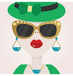 Abstract close up hipster female face icon vector