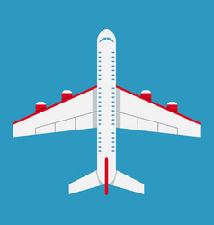 airplane of top view aircraft icon in flat style vector image