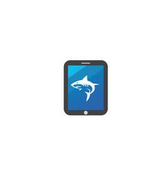 Angry blue shark fish logo design i a tablet vector