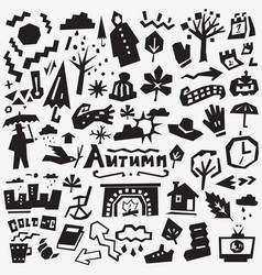 Autumn doodles set vector