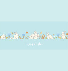 banner with bunnies and flowers vector image