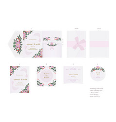 Beautiful vintage wedding set with cute flowers vector