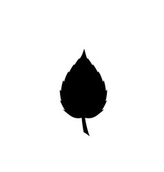 black silhouette of single leaf icon on white vector image