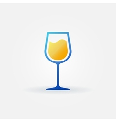 Blue glass of white wine icon vector image