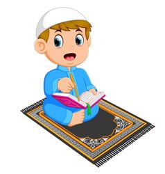 Boy is reading al quran vector