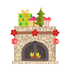 burning fireplace decorated christmas toys vector image