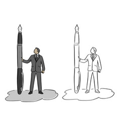 businessman holding big fountain pen vector image