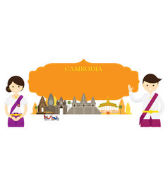 Cambodia landmarks people in traditional clothing vector