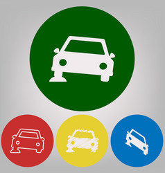 car parking sign 4 white styles of icon vector image