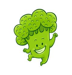 cartoon broccoli character dancing vector image