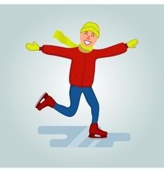 Cartoon character ice skates winter sport vector image