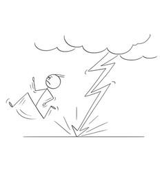 Cartoon man or businessman running from the vector