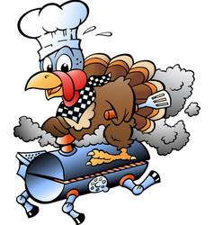 Cartoon of an thanksgiving turkey chef riding vector