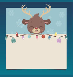 christmas notepad with a cute reindeer vector image