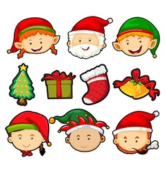 Christmas theme with people and ornaments vector