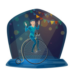Circus acrobat riding vintage bicycle on arena vector