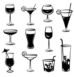 Cocktail party icons drink glass silhouette vector