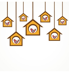 Collection of funny birds in feeders vector image