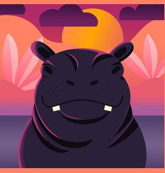 Colorful portrait cute hippo sunset background vector