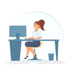 Concept of the coworking center business woman vector