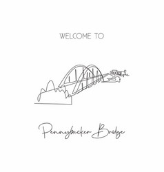 Continuous one line drawing 360 bridge texas vector