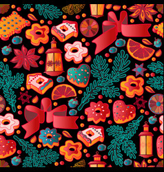cute christmas seamless pattern with toys and vector image