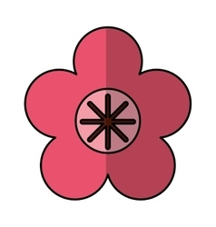 Cute flower emblem icon vector