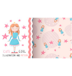 cute little princess - seamless pattern vector image