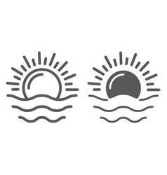 dawn line and glyph icon weather and sun sunrise vector image