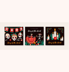 day dead holiday cards templates set decorated vector image