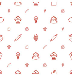 dessert icons pattern seamless white background vector image