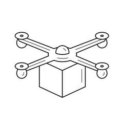 drone delivery line icon vector image