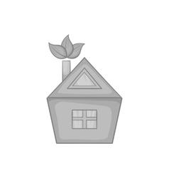 Eco house icon black monochrome style vector image