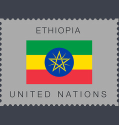 Flag ethiopia sign and icon postage stamp vector