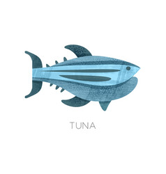 flat icon of blue tuna fish with texture vector image
