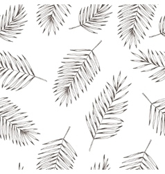 Floral coconut leaves seamless pattern Hand drawn vector