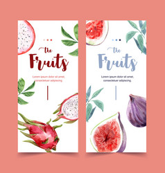 Flyer watercolor design with beautiful fruits vector