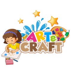 Font design for word art and craft with little vector