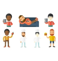 Food and drink set with people vector