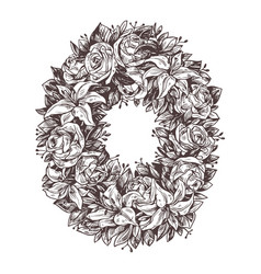 funeral mortuary mourning wreath with white flower vector image