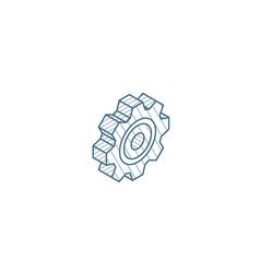 Gear mechanism isometric icon 3d line art vector