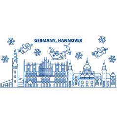 germany hannover winter city skyline merry vector image