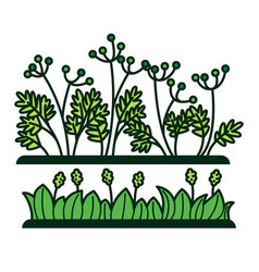 Green grass and flower plants icons vector