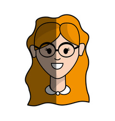 happy beautiful woman with glasses and hairstyle vector image