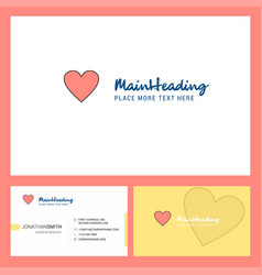 heart logo design with tagline front and back vector image